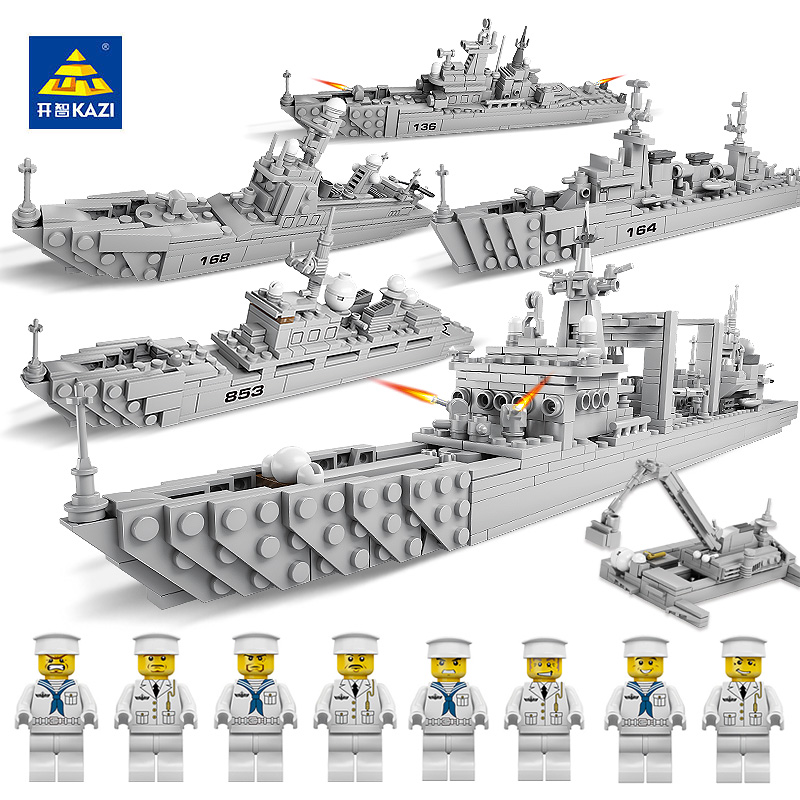 KAZI 84041 Military Destroyer Battleship Educational Bricks Warship Building Blocks Model Toys for Children Christmas Gifts kazi 228pcs military ship model building blocks kids toys imitation gun weapon equipment technic designer toys for kid
