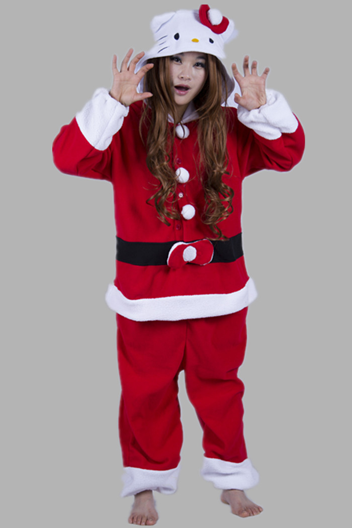 Adult Christmas Father Costume Women Men Unisex Anime Kitty Cat One Piece Cosplay Pajamas Winter Party Costume Big Size S-XL