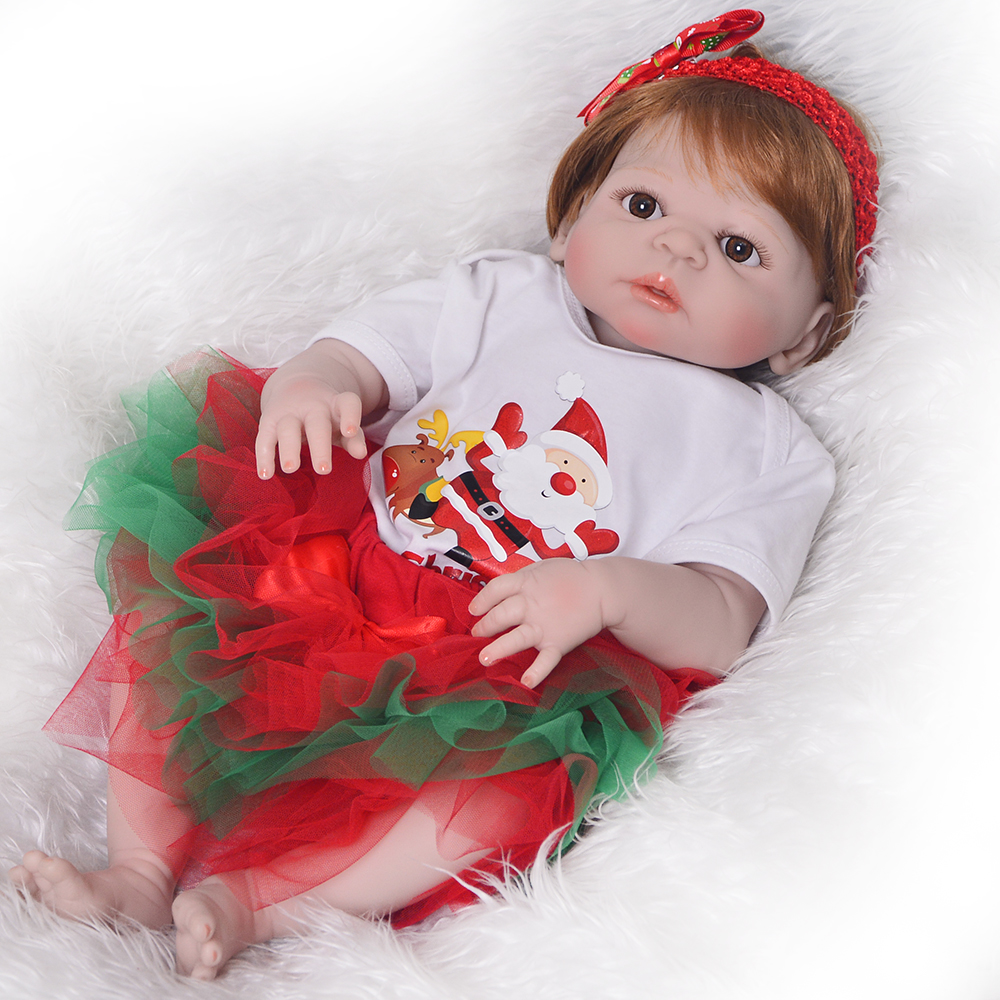 23 inch Reborn Babies Doll Toys 57 cm Full Silicone Vinyl Reborn Bonecas Doll Wholesale Santa Claus Gifts For Girl Bebe Playmate цена