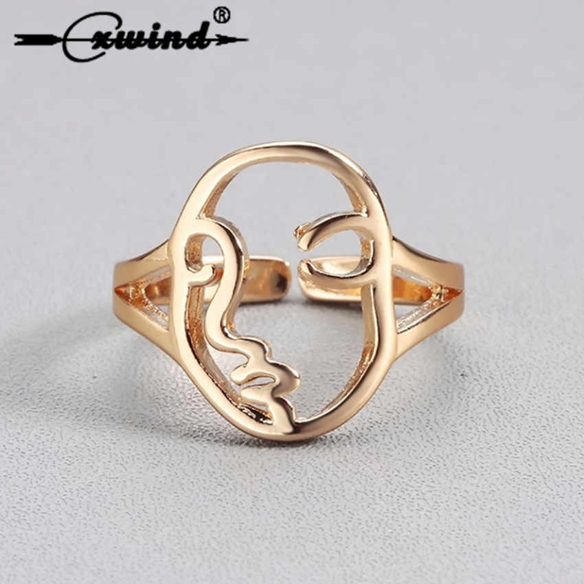 Cxwind Hiphop Abstract Face Figure Rings for Women Fashion Charm Hollow Geometric Gold Ring Jewelry Engagement Wedding Gift