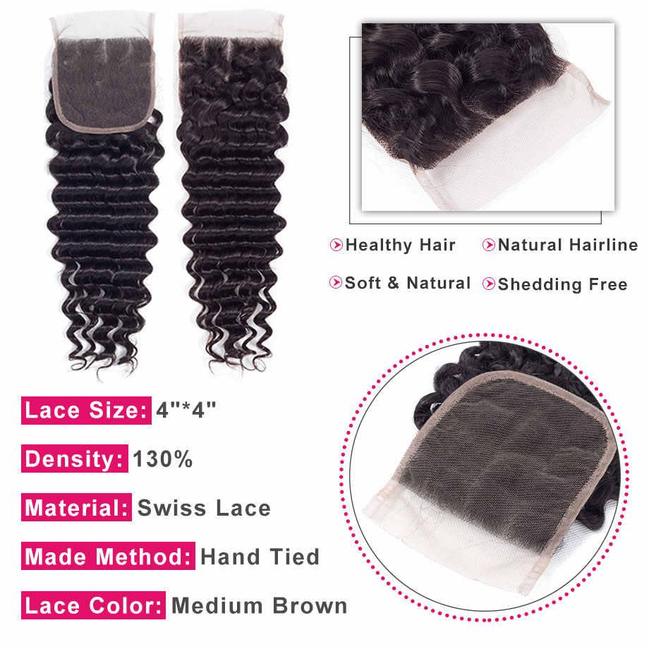 Cabello brillante Cierre de encaje de onda profunda 4*4 gratis/Medio/tres Partes 100% cabello humano Remy brasileño cierre de Color Natural envío gratis