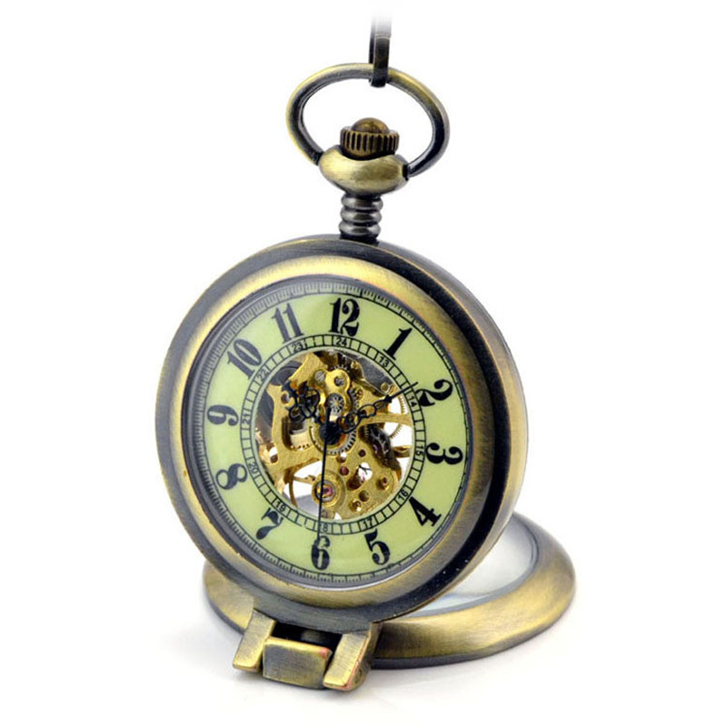 Luminous Magnifier Skeleton Bronze Automatic Mechanical Pocket Watch Men Vintage Hand Wind Clock Necklace Pocket & Fob Watches steampunk skeleton mechanical pocket watch men vintage bronze clock necklace pocket