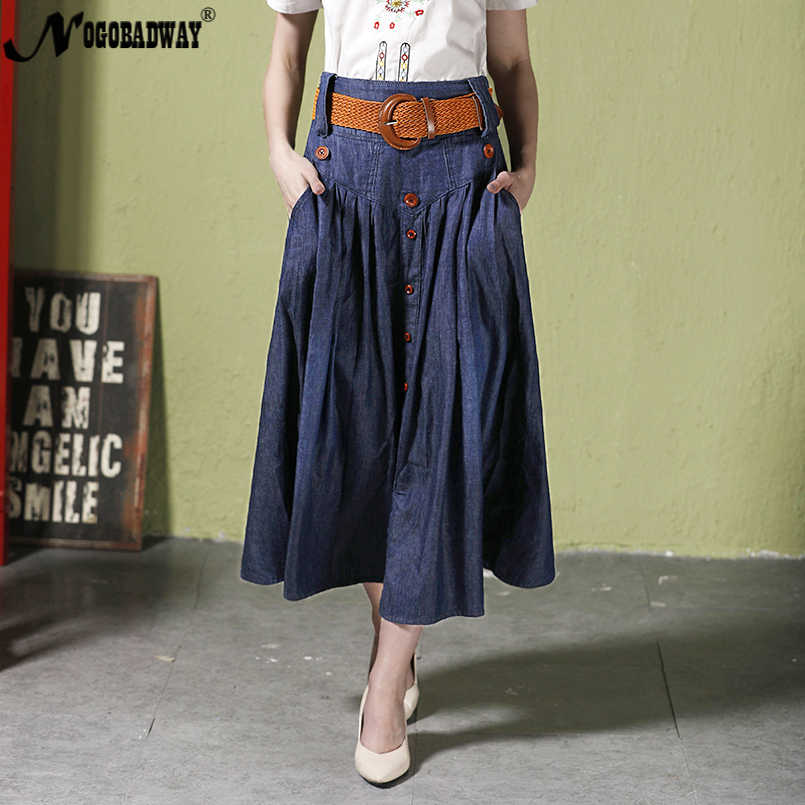 e033d0656 S-6XL talla grande denim Falda larga Mujer cintura alta jeans falda verano  maxi faldas plisadas casual vintage inferior saia de bolsillo nuevo