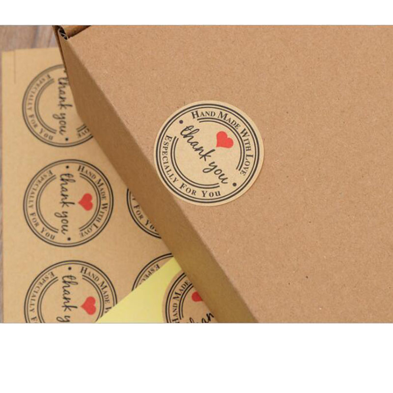 120pcs/Set Thank You Retro Stickers Kraft Paper Label Thank You Sticker Round Labels Paper Stationery Sticker
