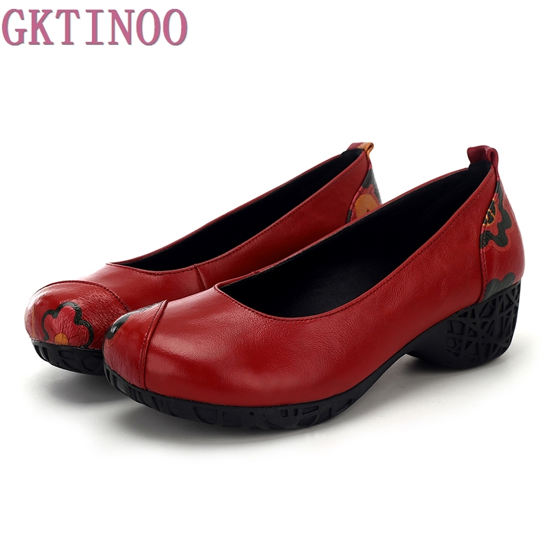 Spring High Heels Women Genuine Leather Wedges Shoes Woman Thick Heels soft outsole Pumps Casual Women Shoes genuine cow leather spring shoes wedges soft outsole womens casual platform shoes high heel round toe handmade shoes for women