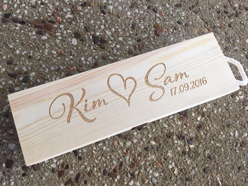 Custom Name Wood Wine Box Personalized Bride Groom Wedding Anniversary Wooden Wine Gift Box Engraved Name Wine Holder Party Gift