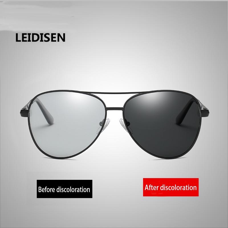 LEIDISEN Men Photochromic Polarized Sunglasses Vision Gafas Lunettes oculos De Soleil Sol Mujer Mercedes Medusa  Glasses очки мерседес