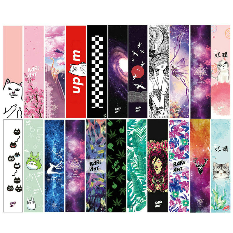 122cm Dancing Longboard Griptapes Long Board Grip Tape Skateboard Griptapes Anti Slid Sandpaper Colorful Graphic Deck