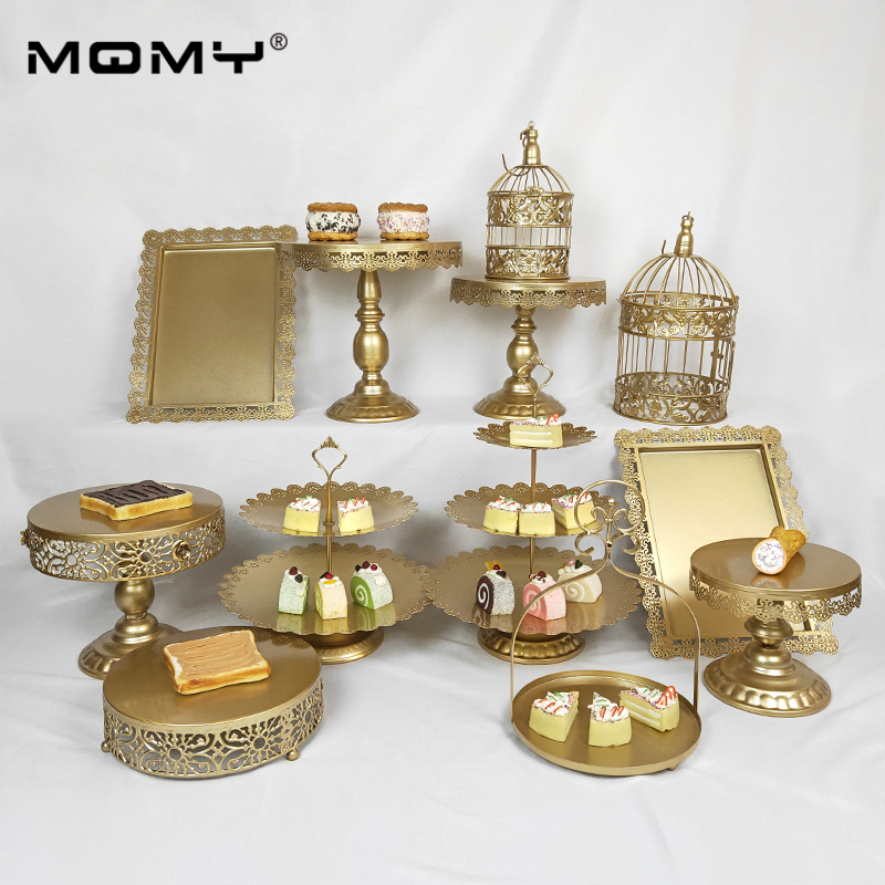 1pcs Gold Cake Stand Round Cupcake Stands Metal Dessert Display in Stands from Home Garden