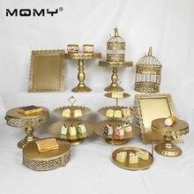 1pcs Gold Cake Stand Round Cupcake Stands Metal Dessert Display
