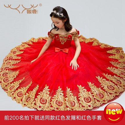 Free ship children girls red golden embroidery beading medieval dress Renaissance Gown Costume Victorian dress Belle  sc 1 st  AliExpress.com & Free ship children girls red golden embroidery beading medieval ...