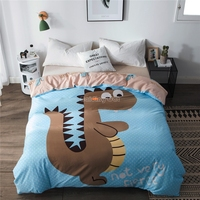 Kids Cartoon Cute Dinosaur Printed Duvet Cover 100% Cotton Fabric Quilt Cover Student Dormitory Comforter Cover Twin Full Queen