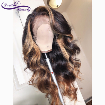 13×6 Deep part Lace Front Human Hair Wigs Body Wave 180% Density Brazilian Non-Remy Human Hair Pre-Plucked Hairline Dream Beauty
