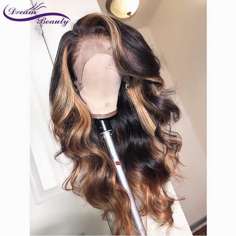 13x6 Derin kısmı Dantel Ön Insan Saçı Peruk Vücut Dalga 180% Yoğunluk Brezilyalı Remy Insan Saçı Ön koparıp Hairline Rüya Güzellik