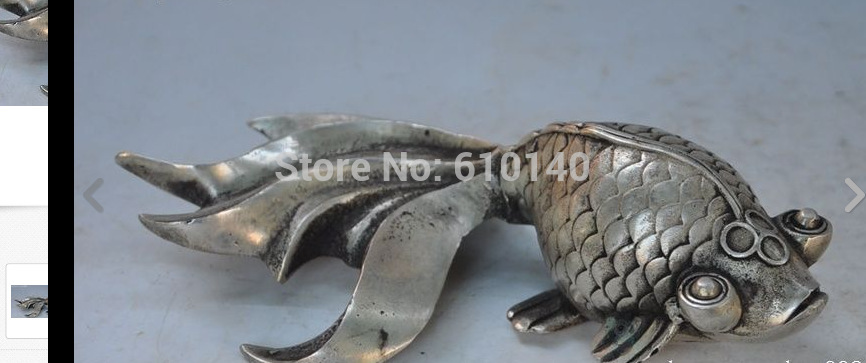 wab6@@0000++Japanese fengshui silver copper goldfish fish animal lucky Auspicious art statue