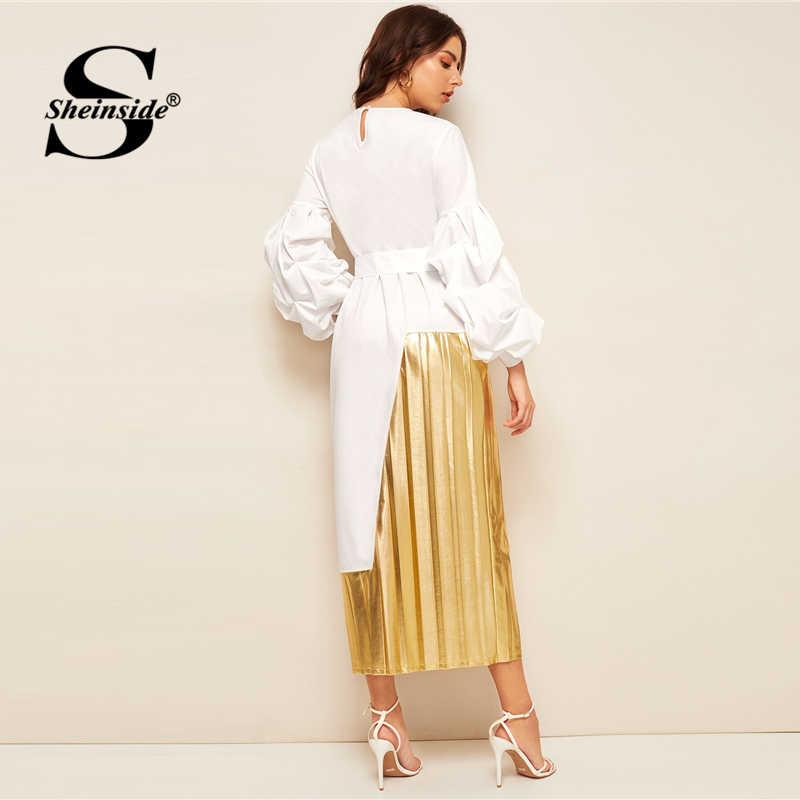 Sheinside элегантное прямое платье с рукавами-фонариками для женщин 2019 Весна 2 в 1 лоскутное плиссированное платье Дамское Платье макси с высокой талией