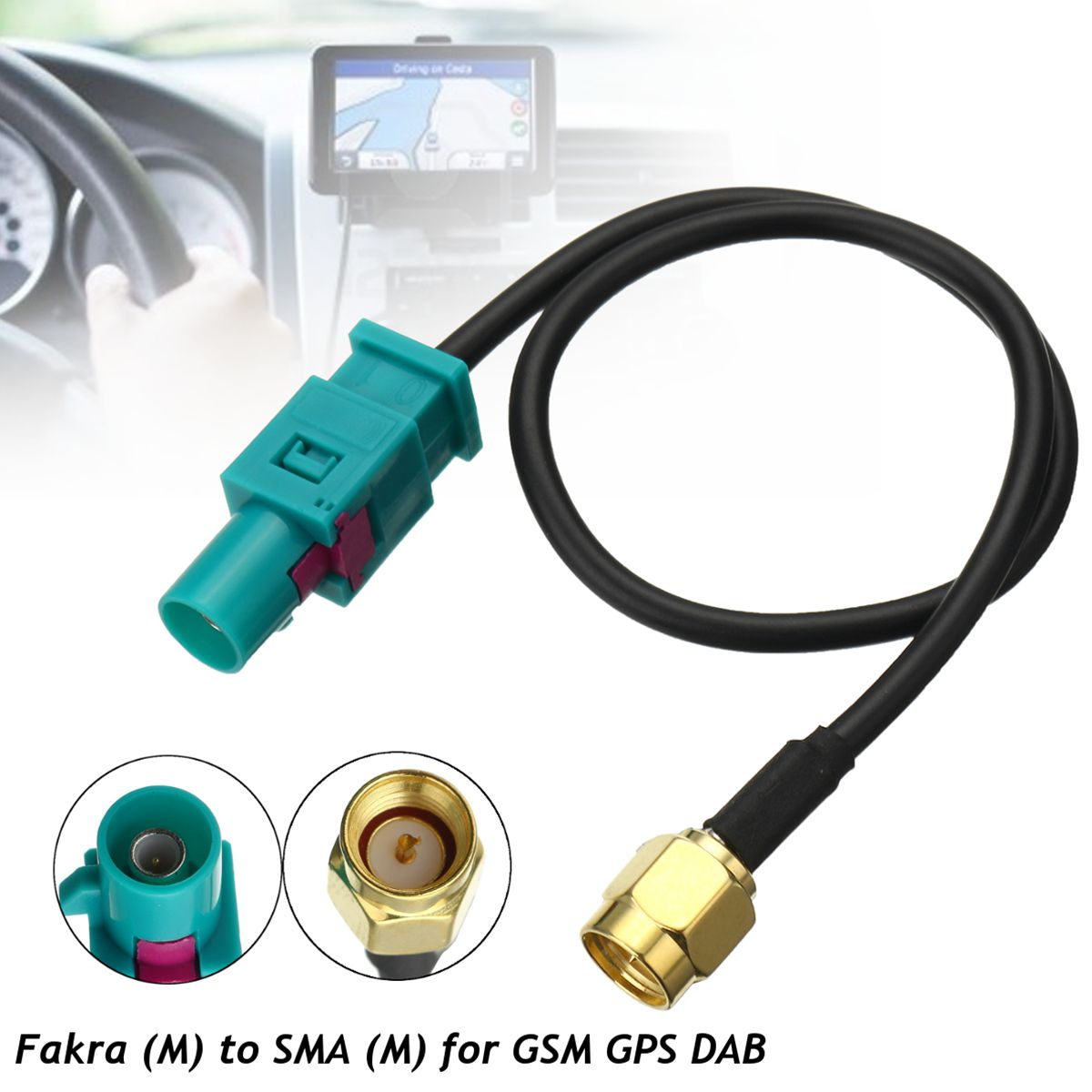 1PC Car Antenna Adapter Plug Cable Fakra Z (Male) to SMA (Male) For GSM GPS DAB Universal 21.5cm(China)