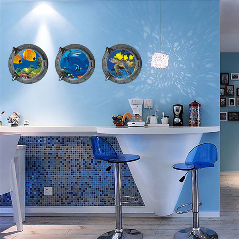 Underwater View Fish 3D Window Wall Sticker for Kids Room Wall Stickers wall decal Home Decor Mural Wallpaper Toilet Sticker