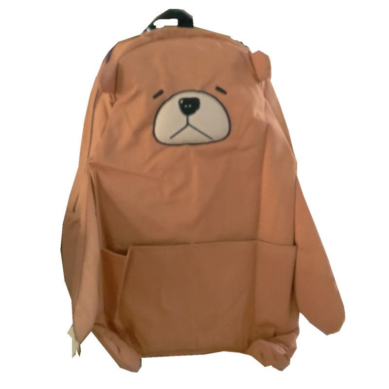 Kawaii Hand made Pink Bear Doll Student Canvas School Bag Backpack Sweet Girls