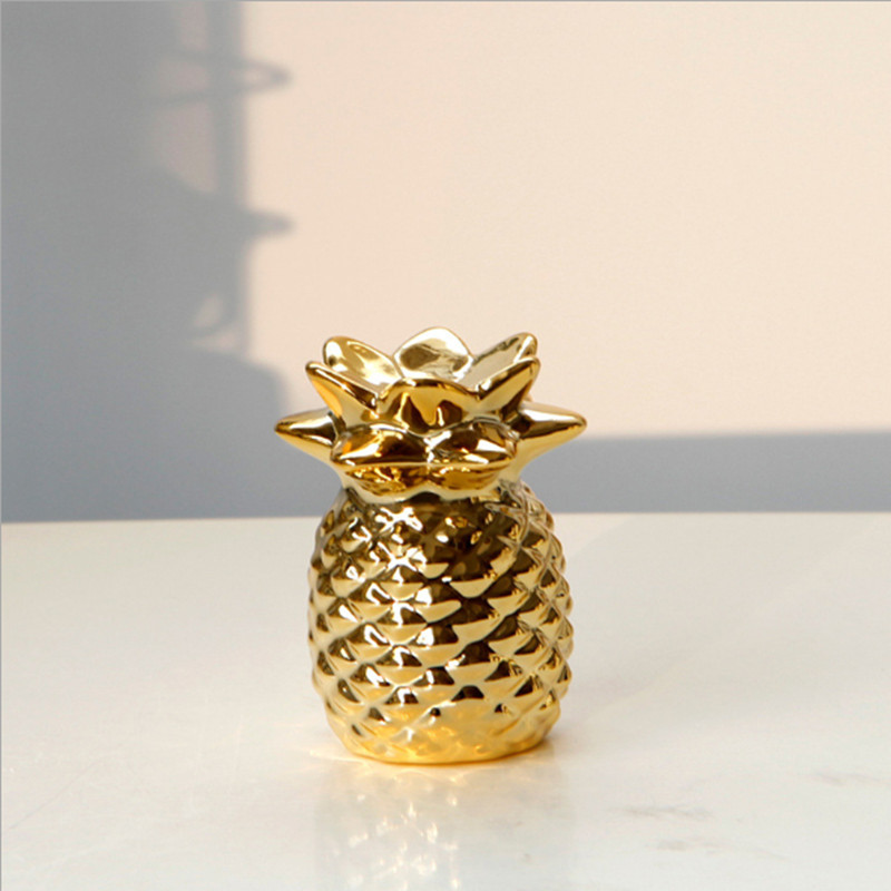 Nordic European luxury golden ceramic pineapple ornaments decoration living room Wine cooler Home decoration ornaments craft in Figurines Miniatures from Home Garden