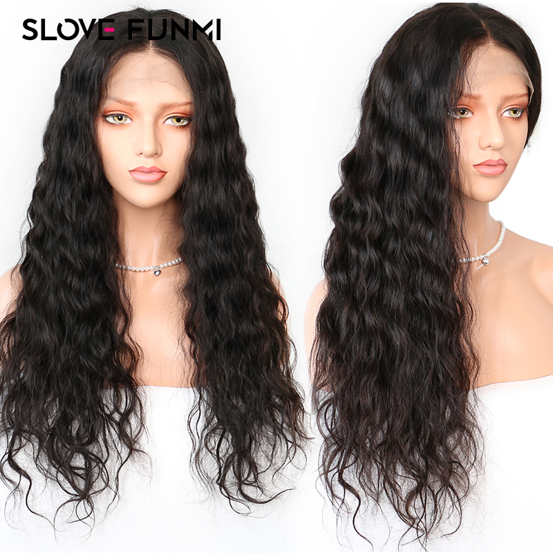 Brazilian Lace Front Human Hair Wig With Baby Hair Glueless Remy Water Wave Lace Front Wig
