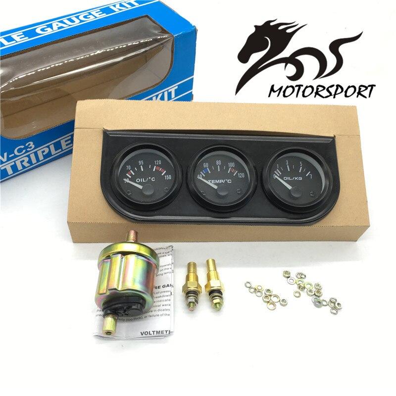 52mm dreifach-kit Öltemperatur Messer + Wassertemperaturanzeige + Öldruckanzeige mit Sensor 3in1 Auto Meter
