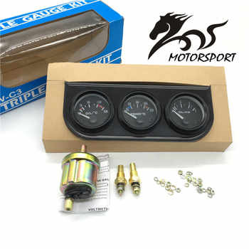 Jauge de température d'huile Triple kit 52mm + jauge de température d'eau + manomètre d'huile avec capteur 3in1 compteur de voiture
