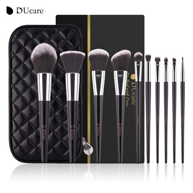 DUcareแปรงแต่งหน้า10PcsคุณภาพสูงชุดแปรงProfessional Make Upแปรงสีดำกระเป๋าความงามEssentialแปรง