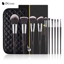 DUcare איפור מברשות 10pcs באיכות גבוהה מברשת סט מקצועי מותג איפור מברשות עם שחור תיק יופי חיוני מברשות