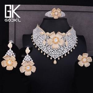 Image 5 - GODKI Luxus Cubic Zirkon Nigerian Schmuck sets Für Frauen hochzeit Indische Halskette Ohrringe sets Armreif Ring parure bijoux femme