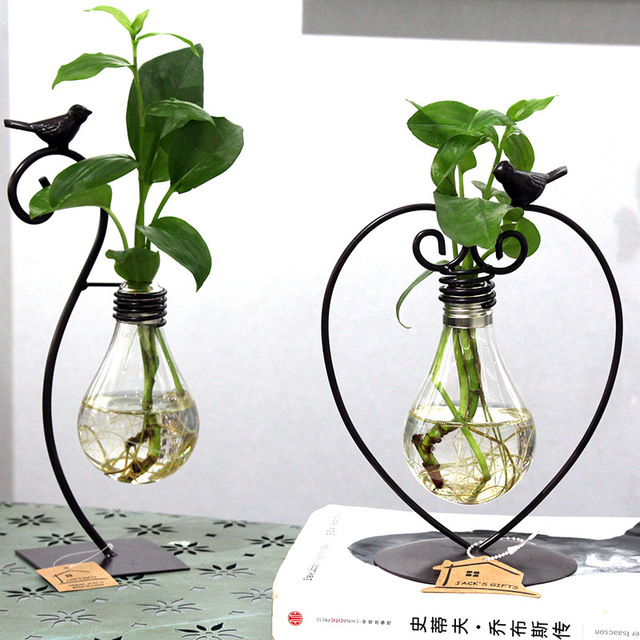 2 types modern style glass tabletop plant bonsai flower wedding 2 types modern style glass tabletop plant bonsai flower wedding decorative vase with metal tray home junglespirit Images