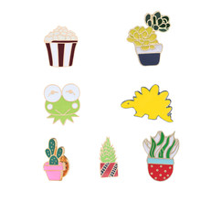 Cartoon Cactus Brooches For Women Enamel Pins Dinosaur Frog Icon Men Clothes Jackets Lapel Pin Button Badge Jewelry Child Gifts(China)
