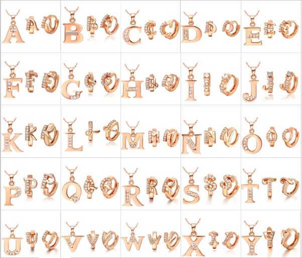 Rose Gold สีชุดเครื่องประดับจี้สร้อยคอต่างหู Letter A B C D E F G H I J K L M N O P Q R S T U V W X Y Z Ulove