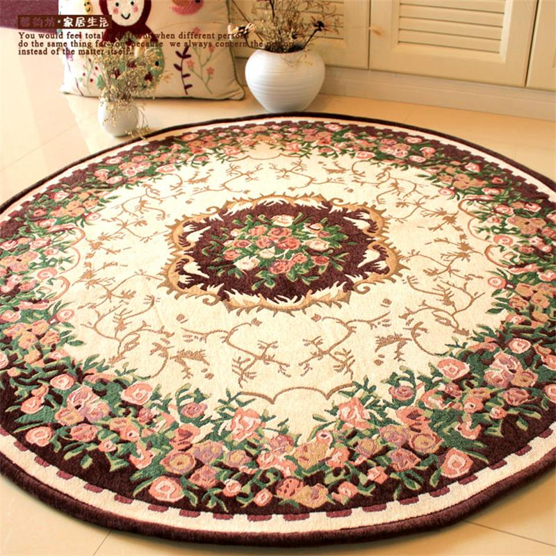 120cm round europe pastoral jacquard carpets for living for Round area rugs for living room