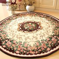 Round Pastoral Jacquard Carpets For Living Room Computer Chair Floor Mat Cloakroom Area Rugs For Bedroom Hallway Rug And Carpet