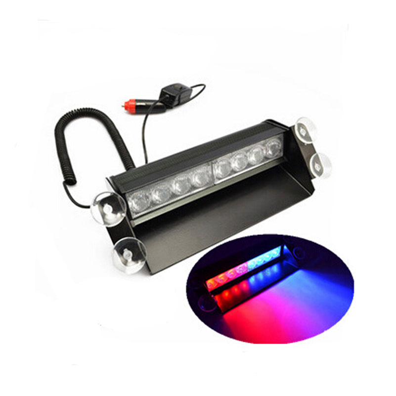 8 Led Car Vehicle Emergency Light Strobe Flash Warning Light Windshield 3 Flashing Modes Lamps with 4 Suction Cups Red/Blue bright amber 24 led strobe light warning emergency flashing car truck construction car vehicle safety 7 flash modes 12v