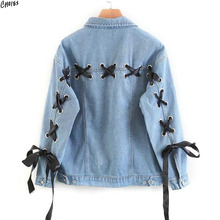 Blue Lace Up Lattice Eyelets Back Classic Denim Jacket Autumn Turn Down Collar Single Breasted Casual Women Oversized Coat(China)