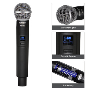 Image 2 - Lomeho LO V52 2 VHF metalowy ręczny nadajnik dynamiczny 2 kanały kościół konferencji Karaoke Party DJ mikrofon bezprzewodowy