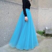 Custom Made Sky Blue Soft Tulle Skirts For Bridal To Wedding Floor Length Tutu Skirt For Women Maxi Skirt