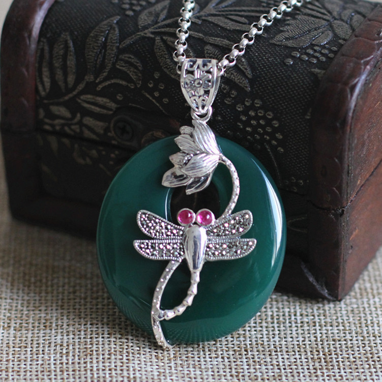 s925 Silver Products Women's Green With Marseille Corundum Dragonfly Pendant dadju marseille