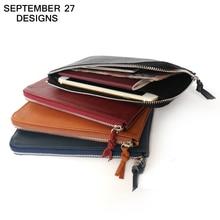 Women's Slim Wallets Cover passport Genuine leather male Handbag Mobile Phone Packet zipper Girls Change long Purses Card Holder