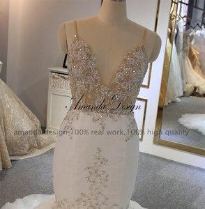Image 4 - אמנדה עיצוב robe דה mariee בוהם ספגטי רצועות בת ים סקסי שמלות כלה