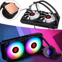 4pin PWM CPU Cooling Fan RGB Water Cooling Heatsink 240mm Double Row PC Water Cooler for Intel LGA 775 115X 2011 1366 for AMD