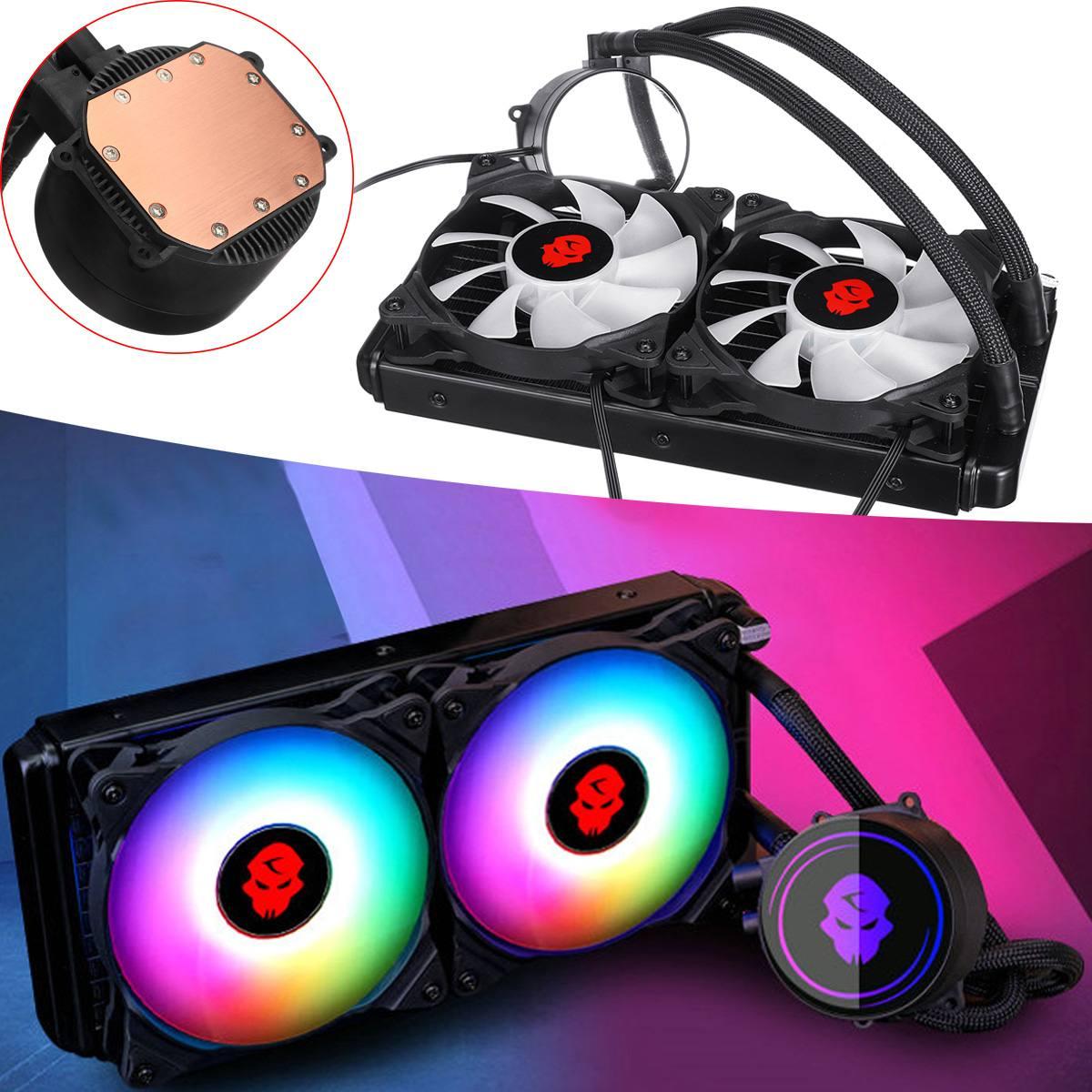 4pin PWM CPU ventilateur de refroidissement RGB refroidissement par eau dissipateur thermique 240mm Double rangée PC refroidisseur d'eau pour Intel LGA 775 115X2011 1366 pour AMD