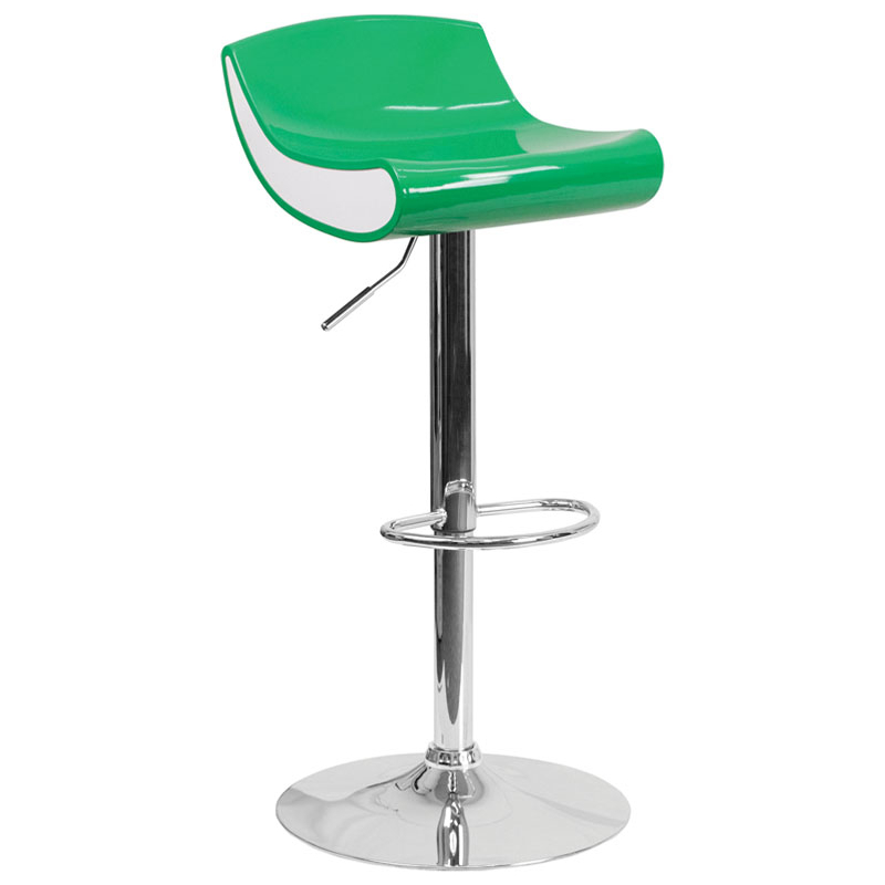 Flash Furniture Contemporary Green and White Adjustable Height Plastic Barstool with Chrome Base