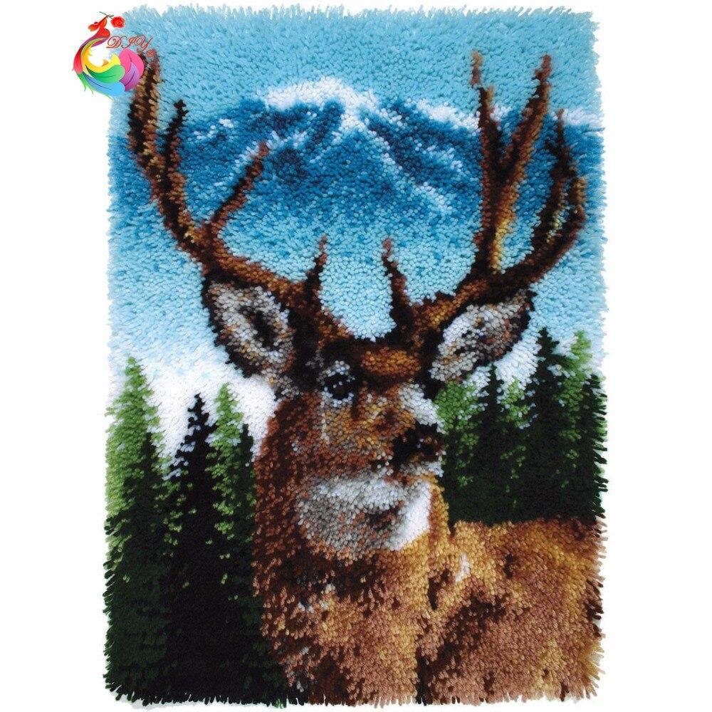 Loquet crochet Kit Tapis cerf tapis Ensemble pour broderie Grande size110x78cm bricolage Artisanat Kits pour broderie ensemble de crochets-in Crochet de verrouillage from Maison & Animalerie    1