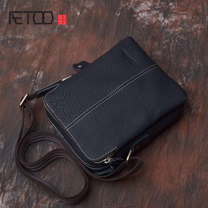 Aetooオリジナル男性のバッグショルダーメッセンジャーバッグカジュアルバッグヘッド層の革ラフとゆったり単一のミニレザーシンプルi  グループ上の スーツケース & バッグ からの クロスボディ バッグ の中 1