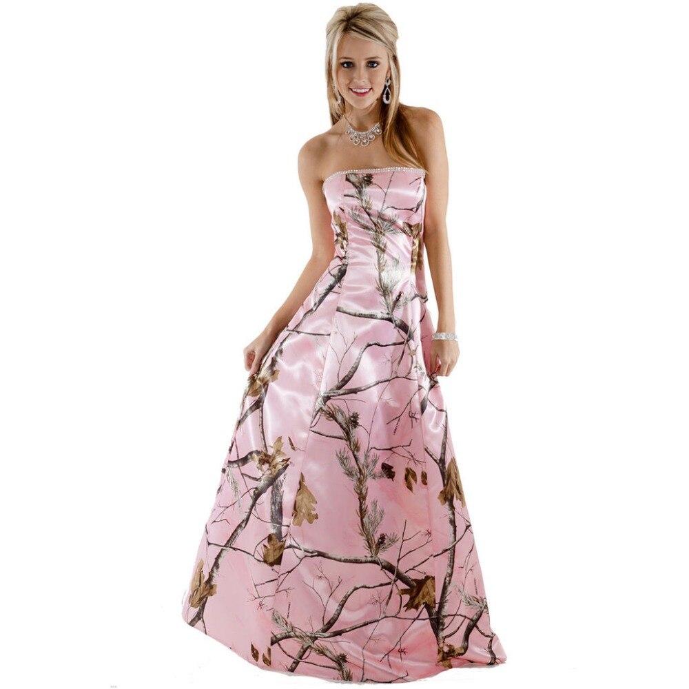 strapless realtree pink camo prom dresses long vestido de festa ...
