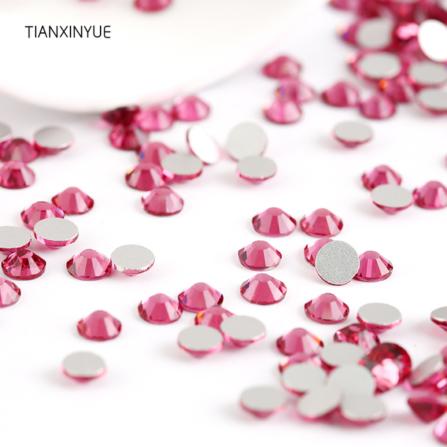 TIANXINYUE Rose ss3-ss30 nail Rhinestones Non Hot Fix FlatBack glue on  Fabric stone and Phones Crystal rhinestone 890fac1dbee6