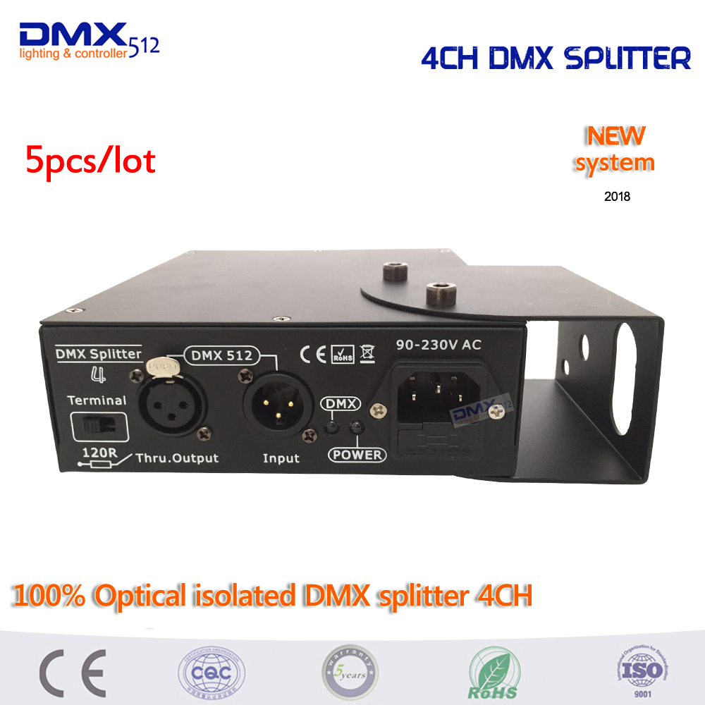 DHL Free Shipping 5pcs high quality Optical isolated DMX splitter 4CH dmx splitter for led Par Disco lights
